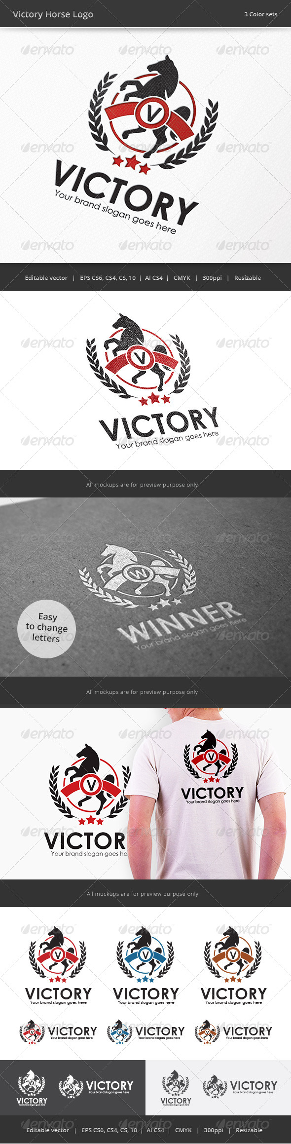 GraphicRiver Victory Horse Letter Crest Logo 7857559
