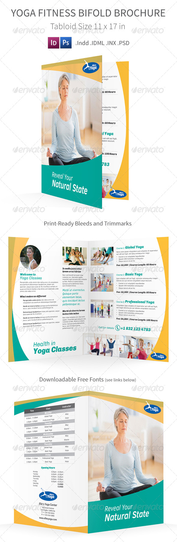 GraphicRiver Yoga Fitness Bifold Halffold Brochure 7857595