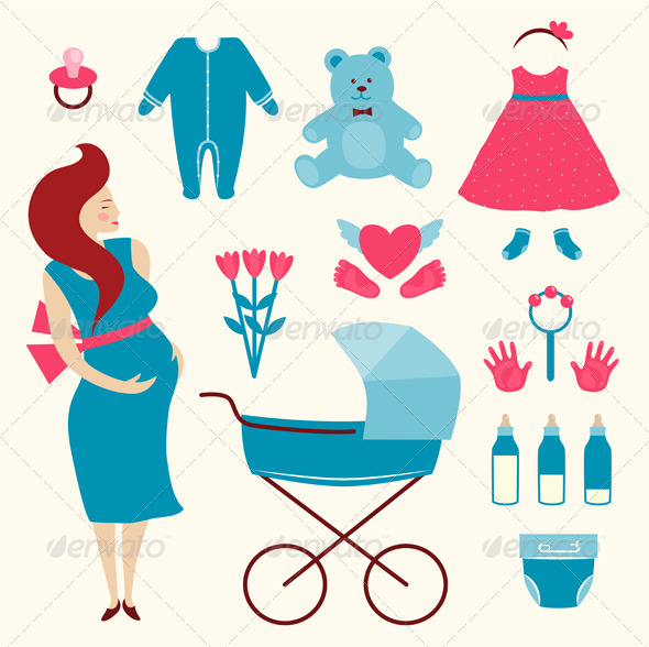 GraphicRiver Pregnant Young Woman and Baby Clothes 7857621