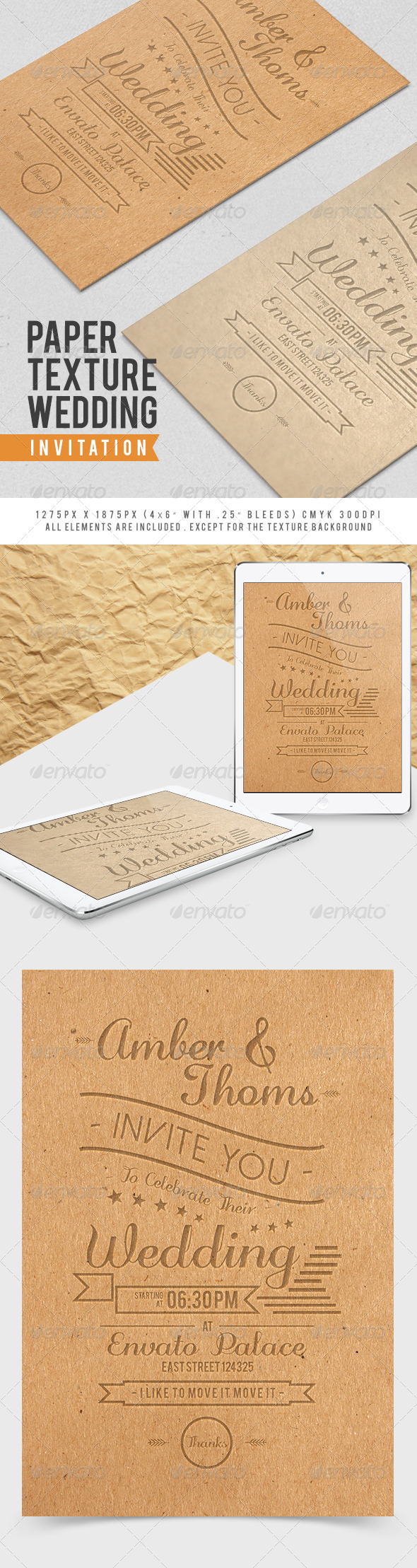 GraphicRiver Paper Texture Wedding Invitation 7857665