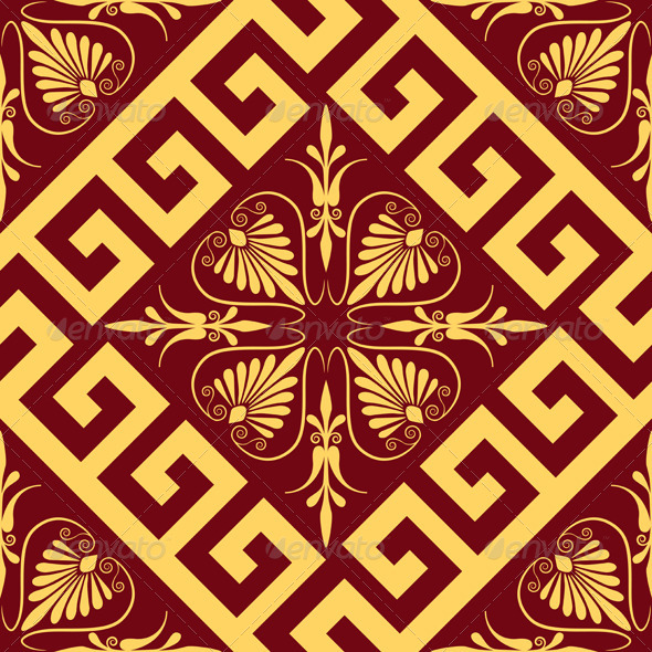 GraphicRiver Seamless Vintage Gold Greek Ornament 7858242