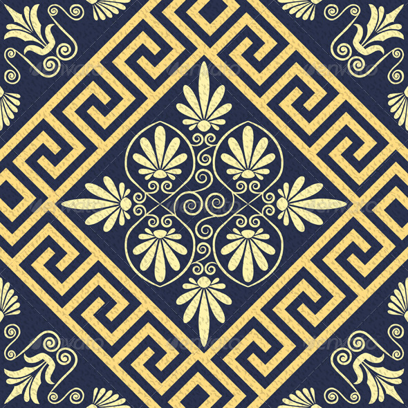 GraphicRiver Seamless Vintage Gold Greek Ornament 7859279