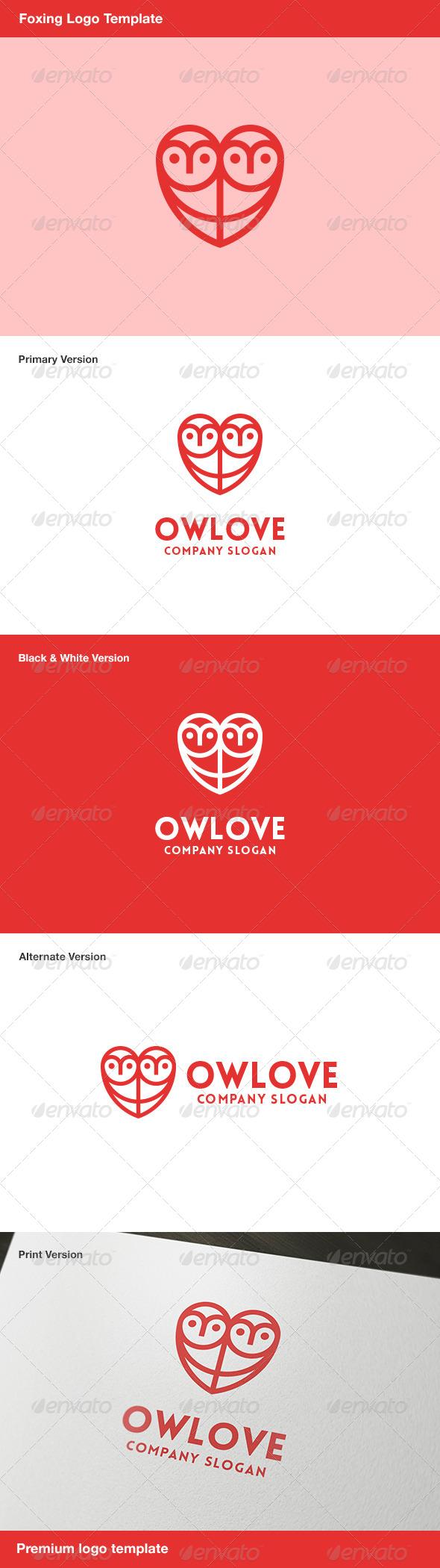 GraphicRiver Owlove Owl & Heart Logo 7859831