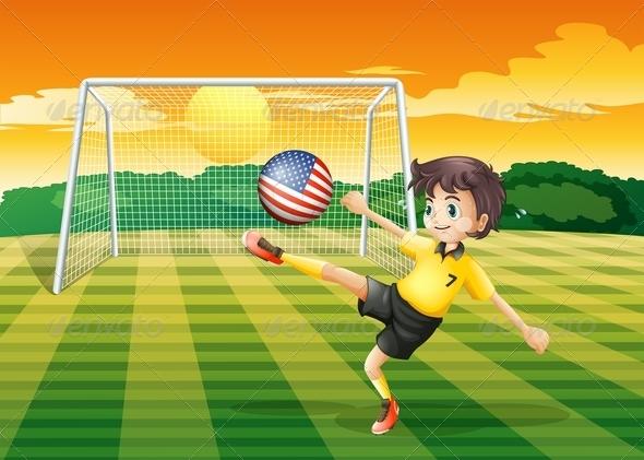 GraphicRiver Girl Kicking USA Flag Football 7859837