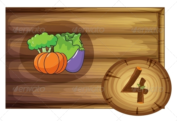 GraphicRiver Wooden frame with four vegetables 7860254