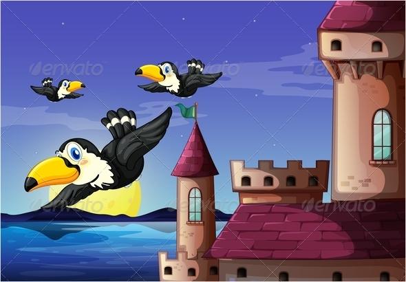 GraphicRiver Birds near castle 7860283