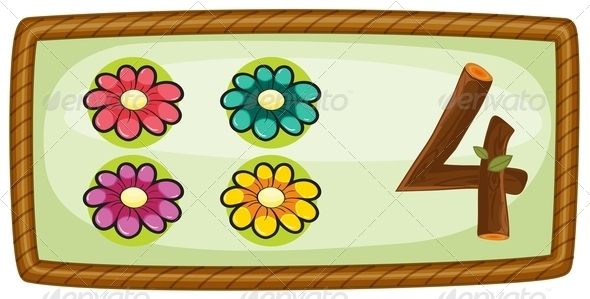 GraphicRiver Frame with four flowers 7860309
