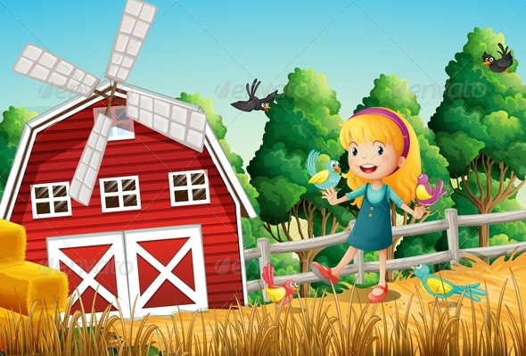 GraphicRiver Girl at the farm with birds 7860445