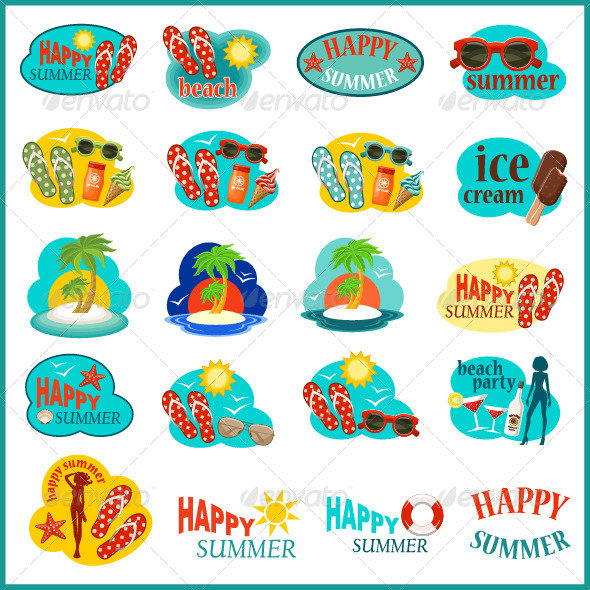 GraphicRiver Beach Icon Set 7860503