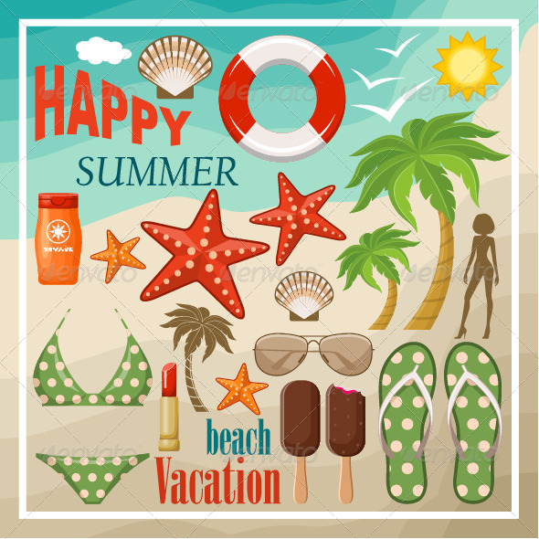 GraphicRiver Summer Beach Set 7860557