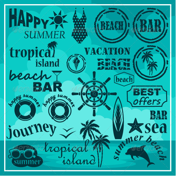 GraphicRiver Summer Beach Set 7860633