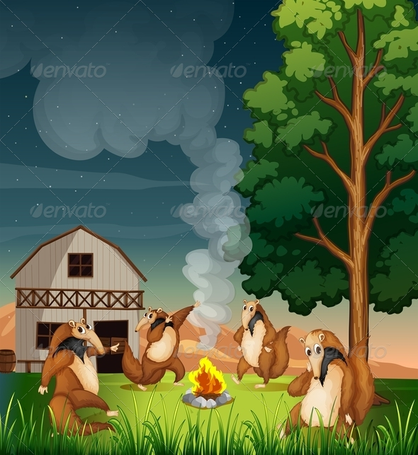 GraphicRiver Anteaters Dance Around Campfire 7860645