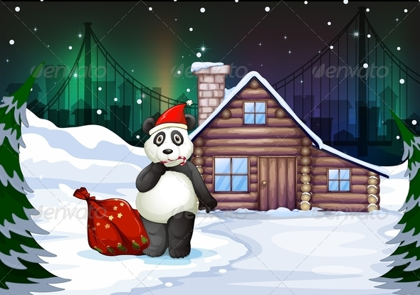 GraphicRiver Santa Panda with Sack Full of Gifts 7860685