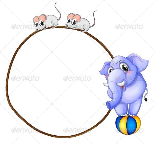 GraphicRiver Round Template with Mice and Elephant 7860732