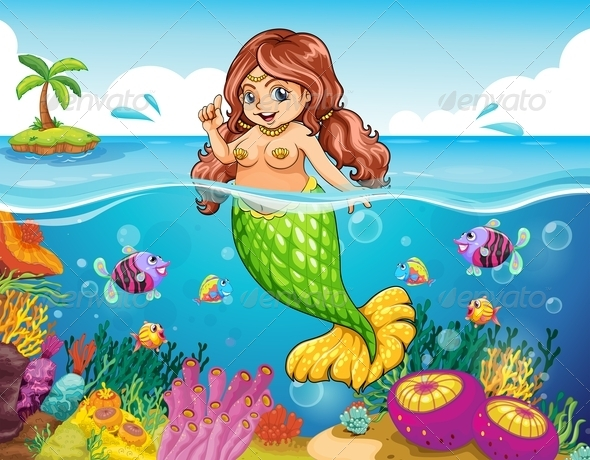 GraphicRiver Sea with a smiling mermaid 7860954