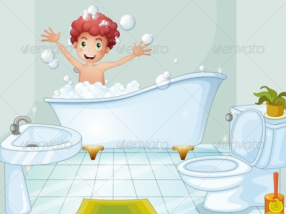 GraphicRiver Boy taking a bath 7861282