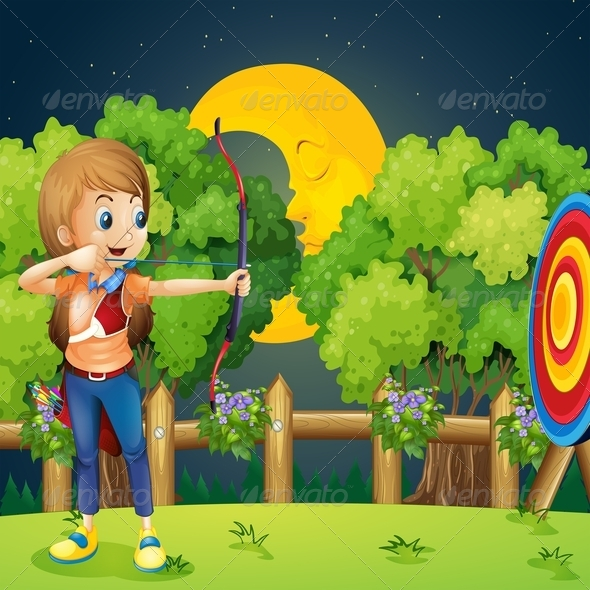 GraphicRiver Girl playing archery 7861422