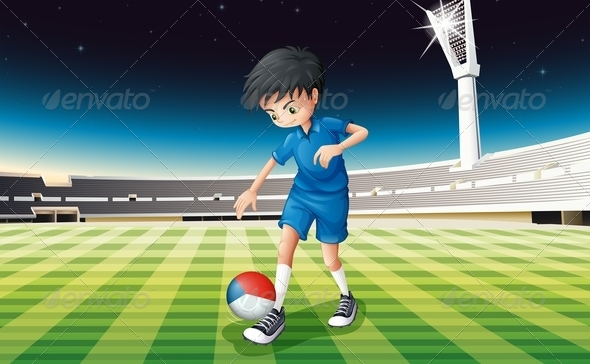 GraphicRiver Boy on Soccer Field with a Czech Republic Ball 7861856