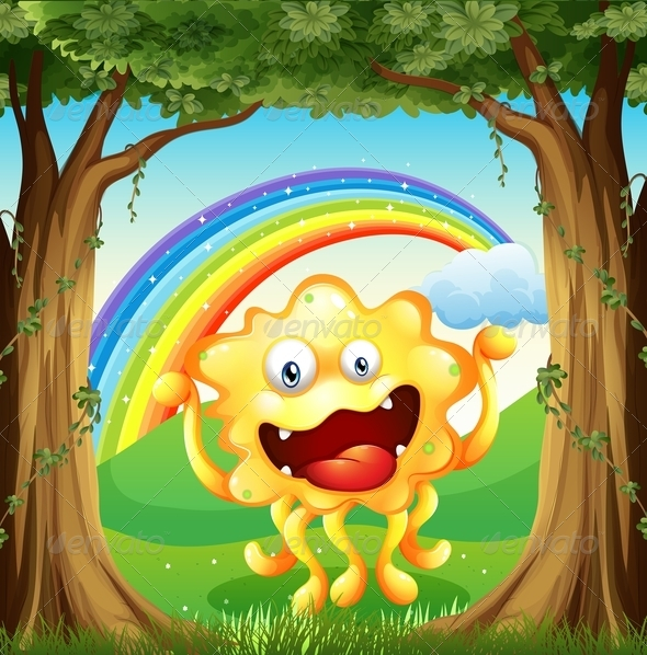 GraphicRiver Monster in the woods with rainbow 7861938