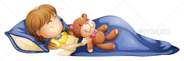 GraphicRiver Girl sleeping with a toy 7862084