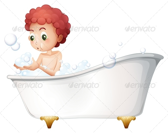 GraphicRiver Boy playing in the bath 7862944
