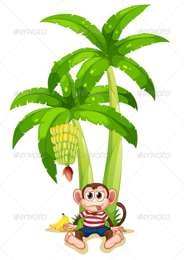 GraphicRiver Monkey under a banana plant 7862974