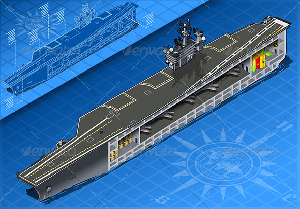 GraphicRiver Isometric Aircraft Carrier in Front View 7862982