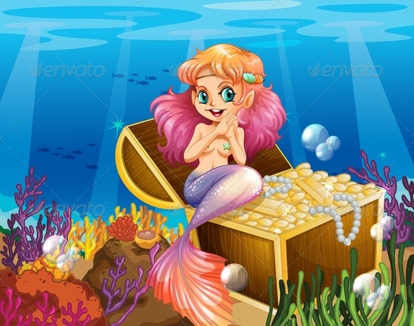 GraphicRiver Mermaid with Treasure 7862999