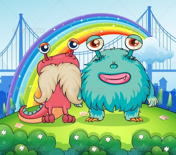 GraphicRiver Two Monsters and a Rainbow 7863020