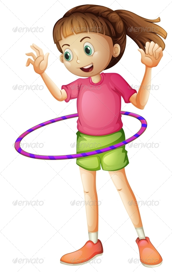GraphicRiver Girl Playing with Hulahoop 7863251