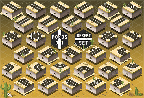 GraphicRiver Isometric Roads on Desert Terrain 7863253