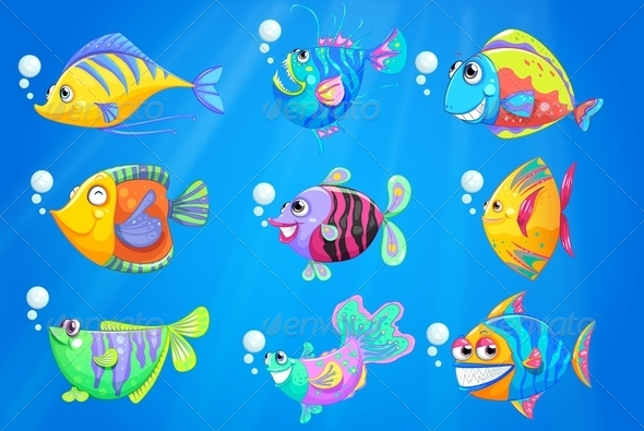 GraphicRiver Nine colourful fishes under the ocean 7863262