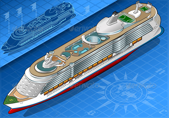 GraphicRiver Isometric Cruise Ship in Front View 7863319