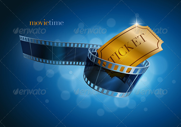 GraphicRiver Camera Film Strip and Gold Ticket 7863365