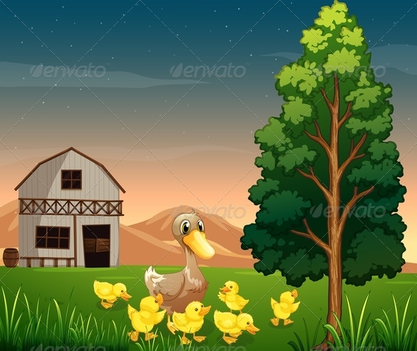GraphicRiver Duck and her ducklings outside barnhouse 7863704