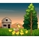 Duck and her ducklings outside barnhouse - GraphicRiver Item for Sale