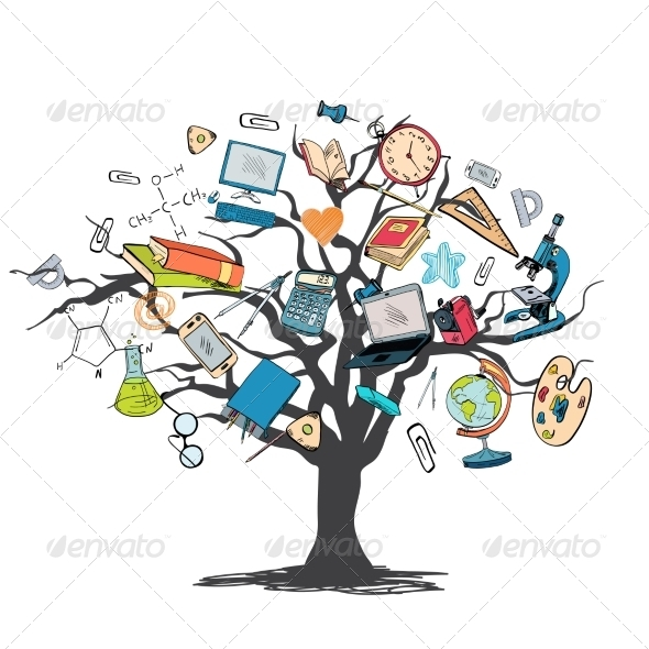 GraphicRiver Education Icon Doodle Tree 7864619