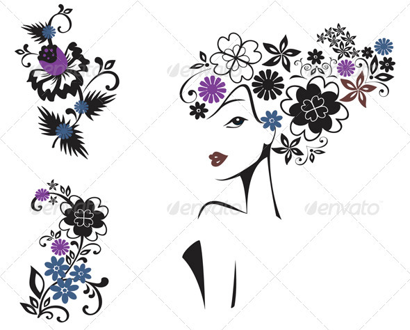 GraphicRiver Elegant Woman In Flowers 803870