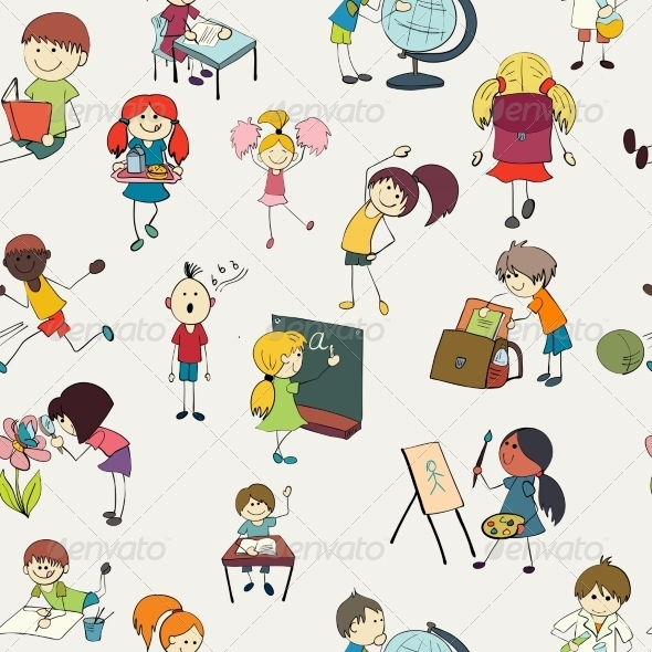 GraphicRiver School Kids Doodle Seamless Pattern 7864637