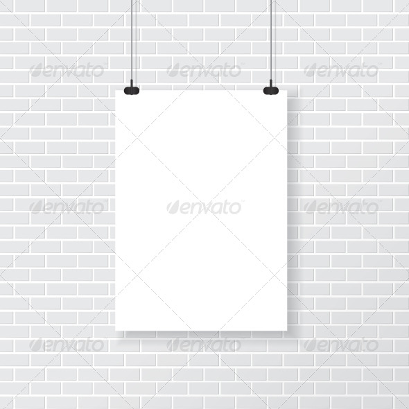 GraphicRiver White Poster on Brick Wall 7865039