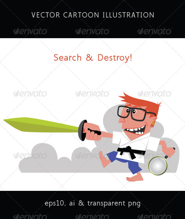 GraphicRiver Search and Destroy Karate Geek with Sword 7865522