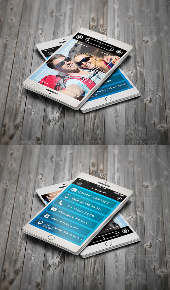 GraphicRiver Selfie SmartPhone Business Card 7857432