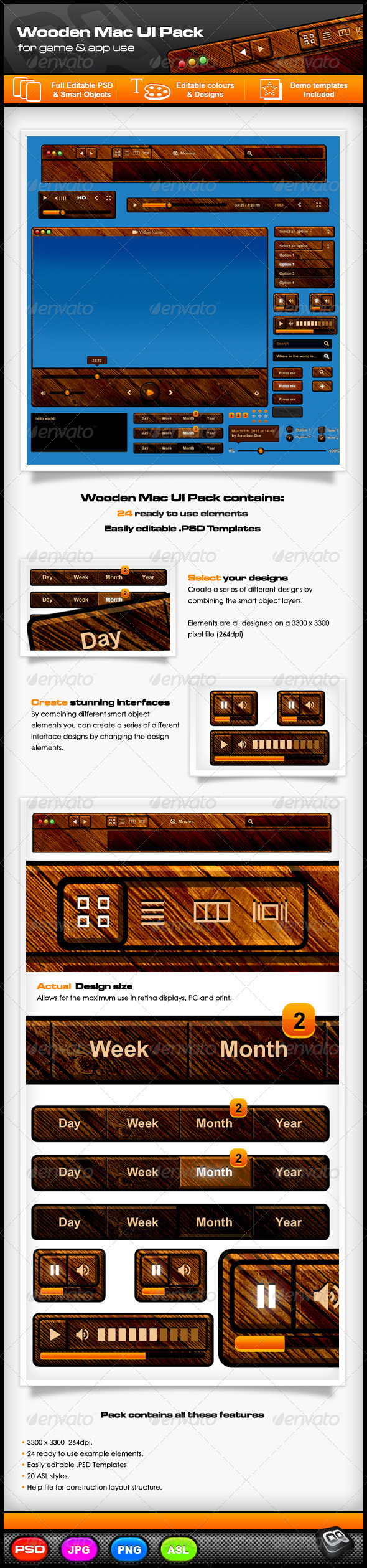 GraphicRiver Wooden Mac UI Pack 7867607