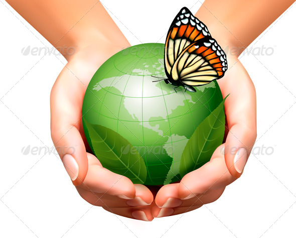 GraphicRiver Green World with Leaf and Butterfly in Hands 7869253