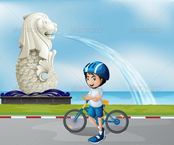 GraphicRiver Young Cyclist with Statue of Merlion 7869678