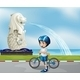 Young Cyclist with Statue of Merlion - GraphicRiver Item for Sale