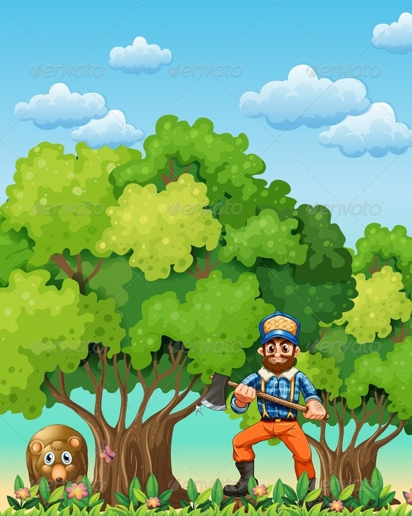 GraphicRiver Forest with bear and lumberjack 7869708