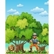 Forest with bear and lumberjack - GraphicRiver Item for Sale