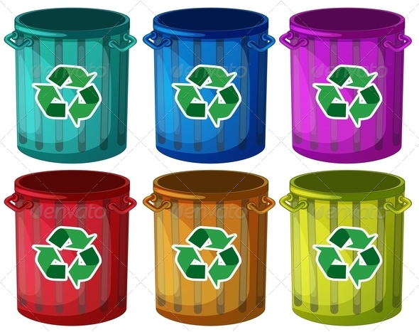 GraphicRiver Six Recycling Garbage Cans 7869803