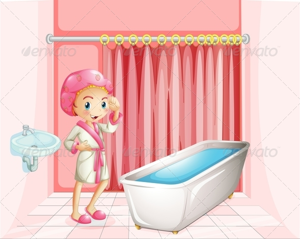 GraphicRiver Girl in the Bathroom 7869835